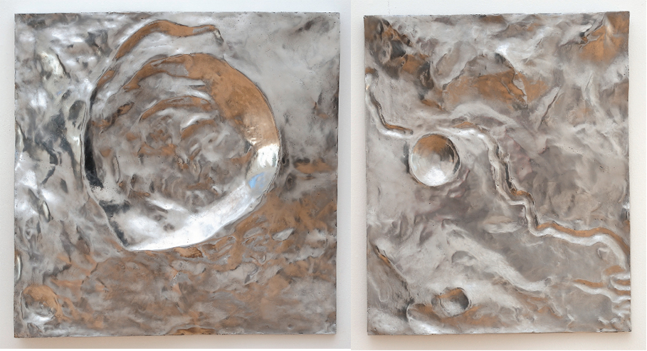 "Christopher Badger, ""Rima Dawes"" and ""Rima Hadley"" cast aluminum Lunar Mirrors"