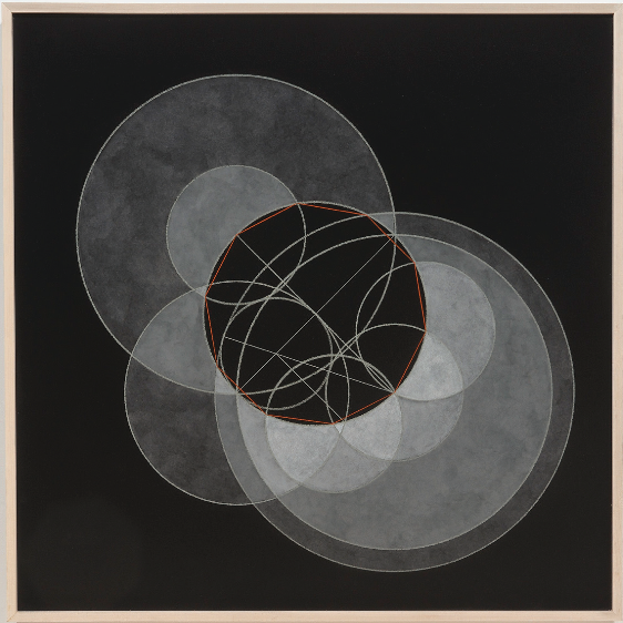 "Christopher Badger, ""Decagon Construction"", chalk and oil on gessoed panel"