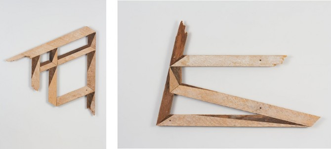 """Andy Vogt, """"Shade Study 1"""" & """"Light Study 2"""" both made from salvaged wood.  source: www.eliridgway.com"""