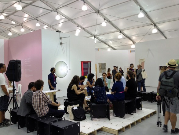 Art discussion happening at Art Untitled
