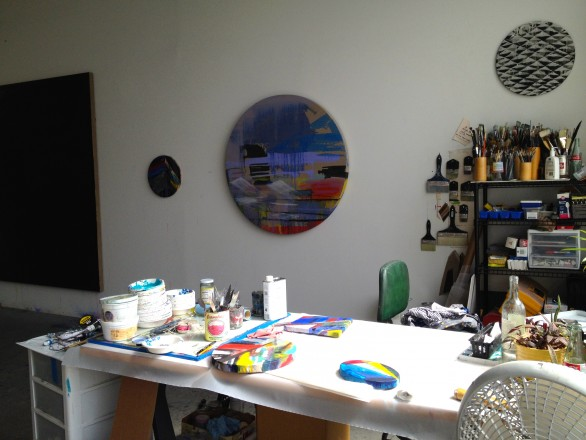 Paintings in progress in the studio of Pamela Jorden