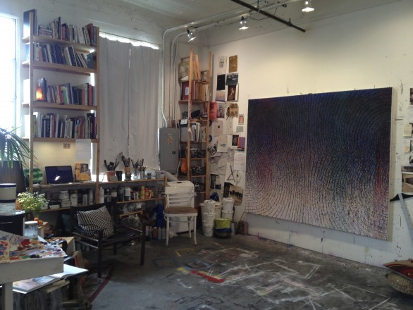 In progress paintings in the studio of Christine Frerichs