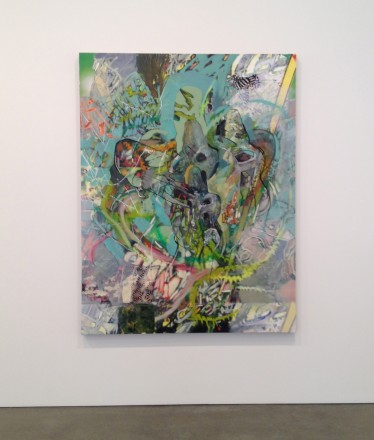 Elliot Hundley collaged paintings at Regen Projects