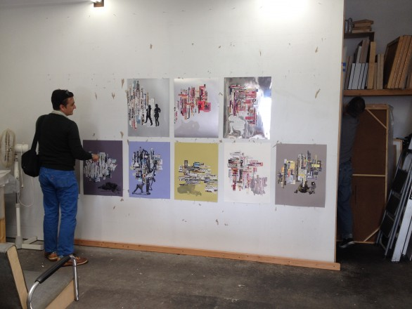 Viewing works on paper in the studio of Tm Gratkowski