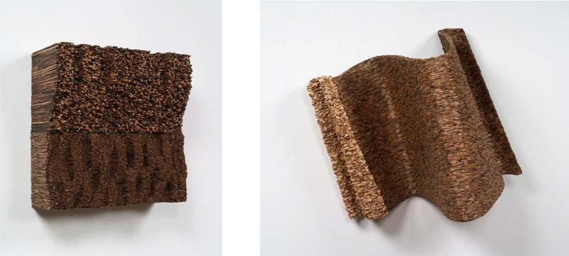 "Leonardo Drew, ""Number 35S"" and ""Number 33S"", 2014, wood.  Courtesy Anthony Meier Fine Arts."