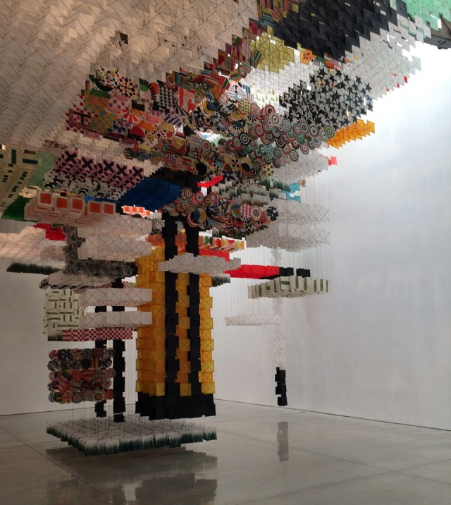 Jacob Hashimoto 'Skyfarm Fortress' installation view at Mary Boone Gallery.