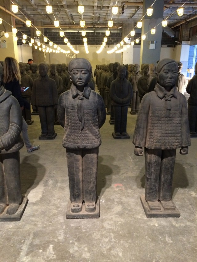 """Prune Nourry """"Terracotta Daughters' at the China Institue. The exhibition features 108 life-sized and individually crafted clay female sculptures that recall China's famous Terracotta Warriors."""