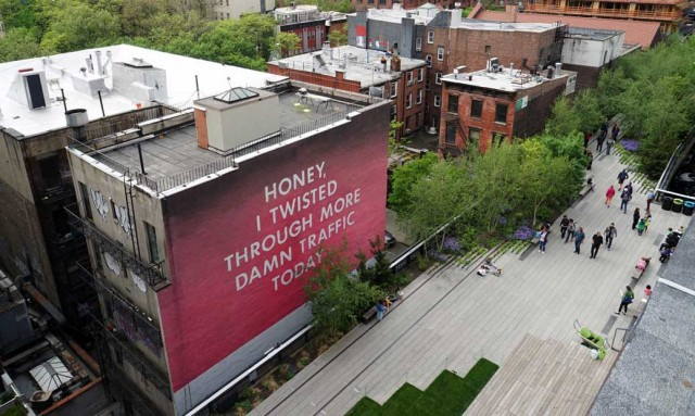 Ed Ruscha, 'Honey I twisted Through More Damn Traffic Today', public art mural adjacent to the High Line at West 22nd Street. Photo courtesy of art.thehighline.org