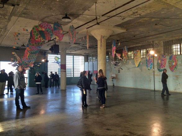 'With Wind', hand painted dragon kite install in the New Industries Building