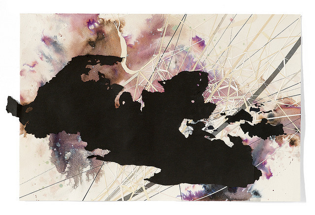Val Britton  'Northwest Territory' 2010, ink, graphite and collage on paper.  Image courtesy of KALA Art Institute.