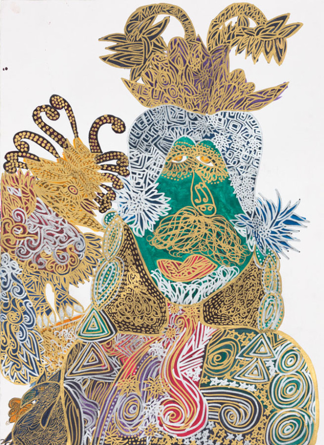 Christina Marie Fong 'King African Statue' metallic ink on paper.  Image courtesy of Creativity Explored.