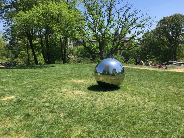 Alicia Framis' participatory sculpture 'Cartas al Cielo' invites passersby to send missives to those with no earthly address via a sculptural globe that reflects the earth and sky.