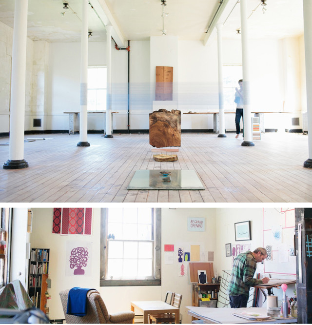 Artist studios from past open house events at Headlands Center for the Arts.