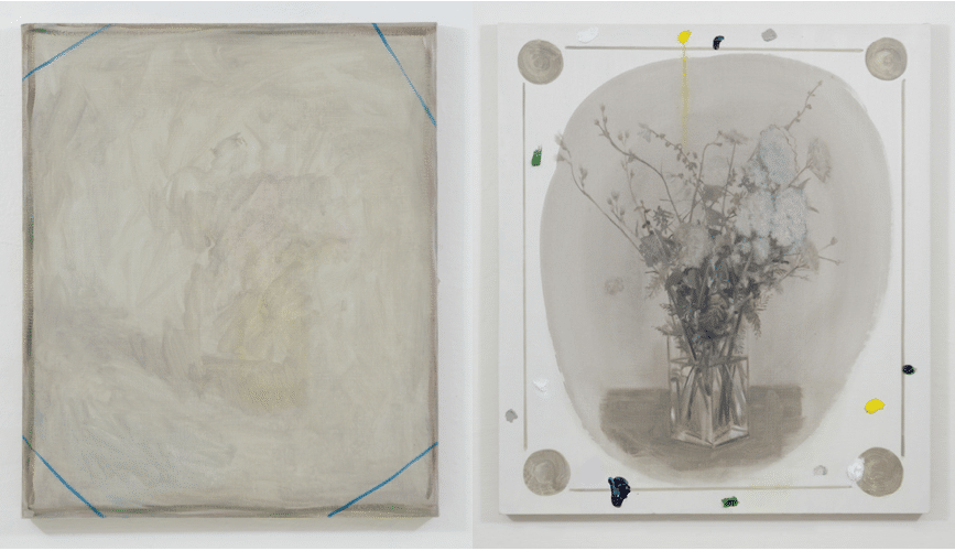 Luca Bertolo, Untitled 15#07, 2015 and Monumento, 2015 both oil on canvas