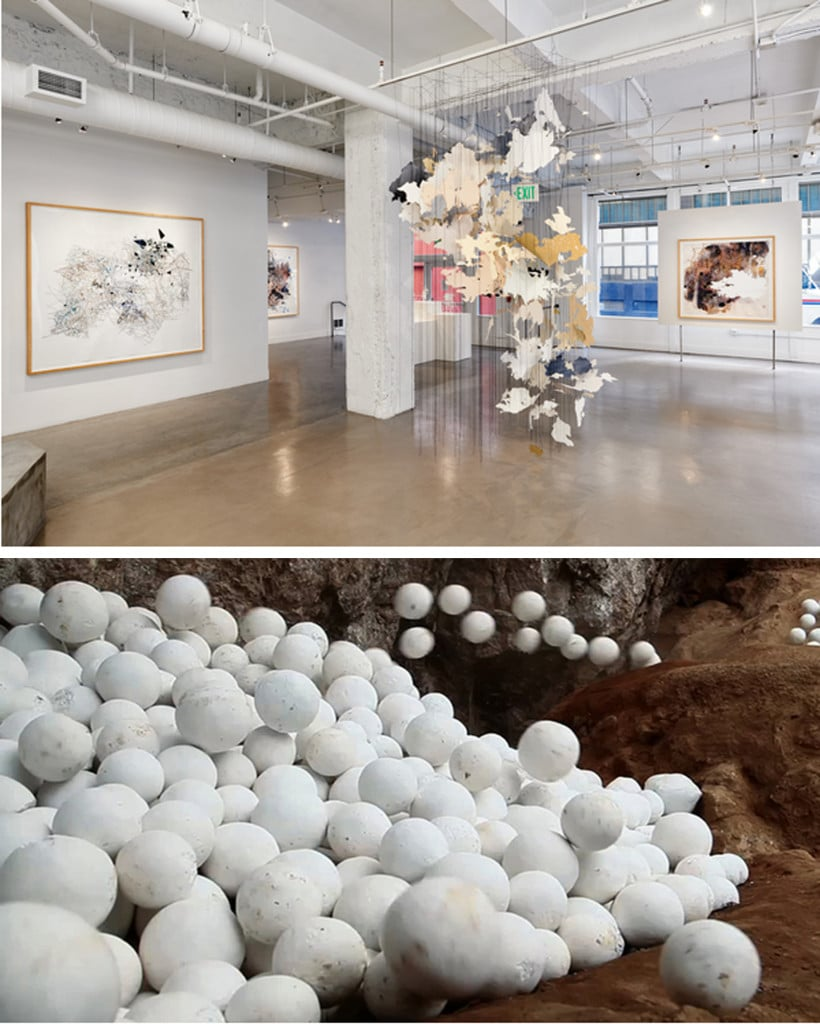 top: Installation view of Val Britton, Bottom: Migel Angel Rios