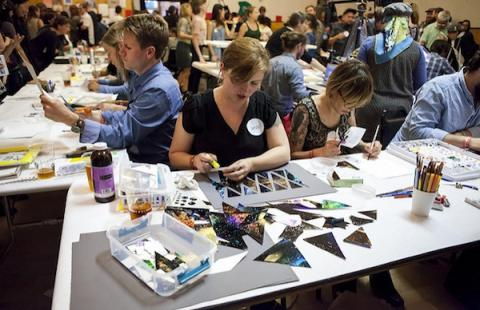 Artists in action at a previous Monster Drawing Rally. Image courtesy of Southern Exposure.