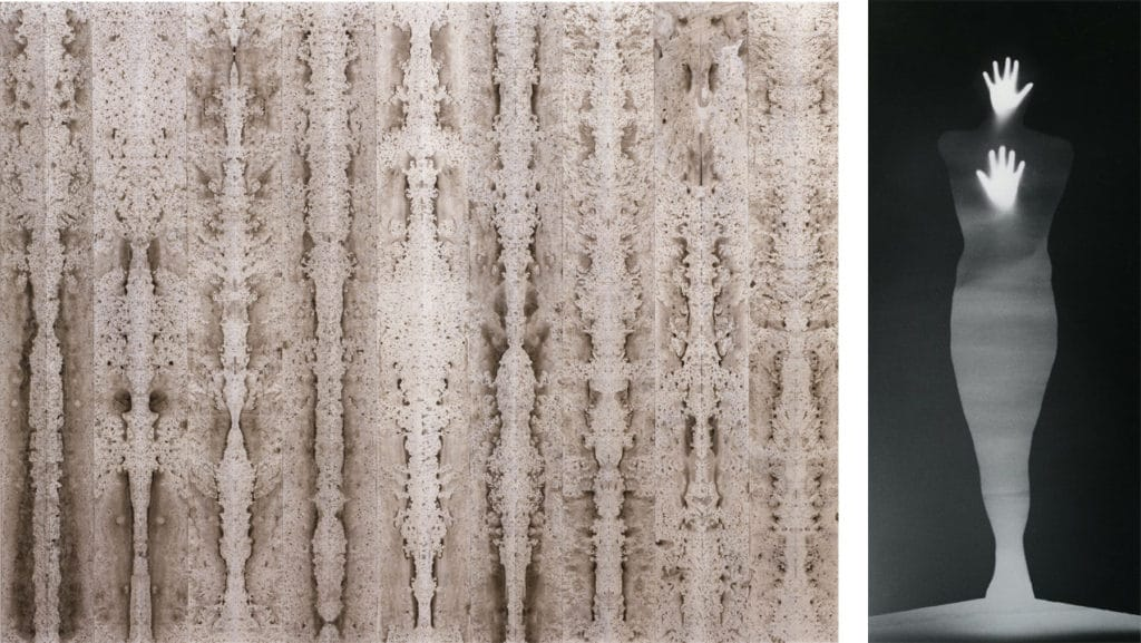 """Bruce Conner Left """"Burning Bright"""" 1996 and Right """"Sound of Two Hand Angel"""" 1974. Images courtesy of SFMOMA."""